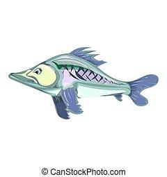 fish., illustration., mano., dibujo, vector, caricatura