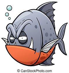 Fish - illustration of angry fish cartoon