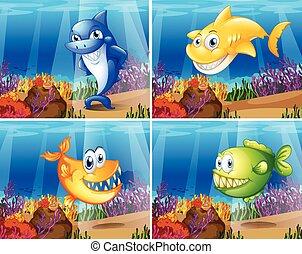 Fish - Four scenes of underwater with fish