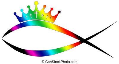 Chrétien Fish Logo Chrétien Coloré Fish Lights Logo Résumé