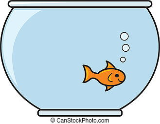 A single smiling goldfish in a bowl full of water.