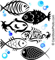 fish in a different style for the vector