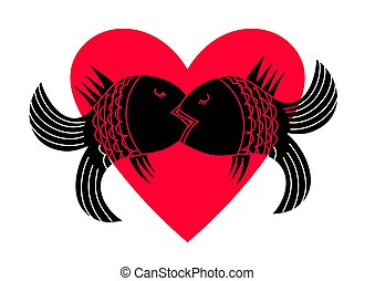 Fish in a passionate kiss on the background of heart. Kiss Icon.