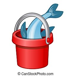 Fish in a red bucket isolated on a white background. Vector illustration.