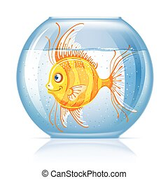 Fish in aquarium - Beautiful lonely golden fish in round...