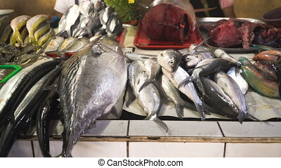Fish in Asian market. - Fresh fish in Asian market. Sale of...