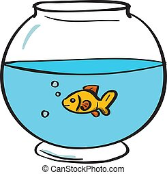 Fish in bowl, illustration, vector on white background.