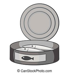 Fish in canned icon, gray monochrome style