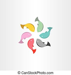 fish in circle abstract vector symbol