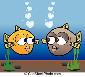 Fish In Love - Two cartoon fish in love are admiring each...