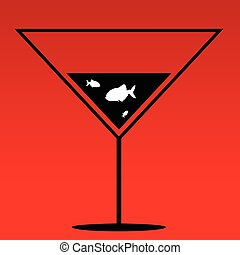 fish in martini vector on red