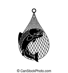 Fish in net. Fish catch. vector illustration