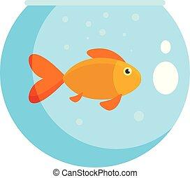 Fish in round aquarium icon, flat style - Fish in round...