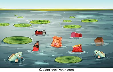 Fish in water pollution illustration