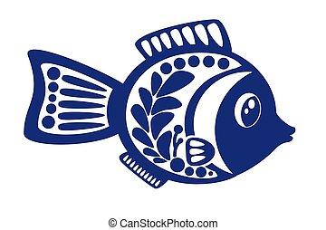 fish, isolé, illustration, arrière-plan., vecteur, blanc, dessin animé