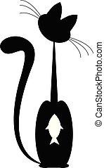 fish., isolado, gato, pretas, vector., branca