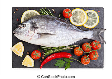 fish isolated on the white background. food concept