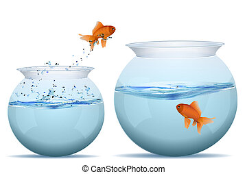 fish jumping from one tank to another - illustration of ...