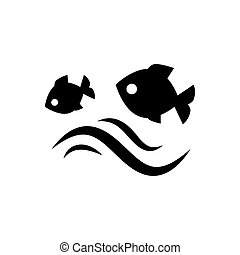 Fish jumping in water.  illustration