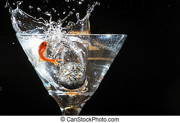 fish, jumping., złoty