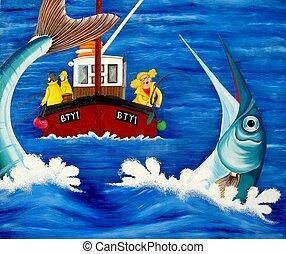 fish, kíváncsiskodó férfi, tenger, őt jár