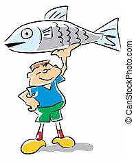 Fish kid - funny illustration