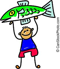 fish kid - little boy holding up his prize fish - toddler ...