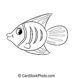 fish., kleuren, spotprent, boek