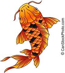 fish, koi, 白, 漫画, 背景, 水泳