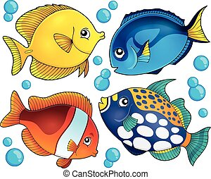 fish, kollektion, tema, 2, rev, korall