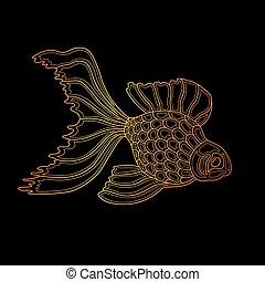 fish., konst, guld, illustration, vektor, design, fodra