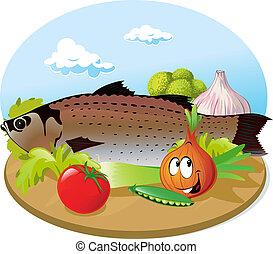fish, légume
