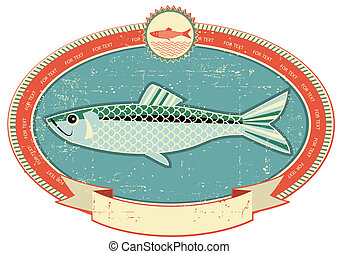 Fish label on old paper texture. Vintage style