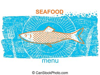 Fish label.Vintage style of menu on blue old paper background
