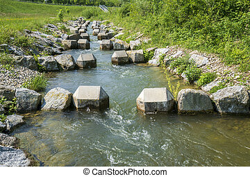 fish ladder for migration of spawning fish in river stream