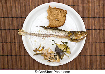 Fish leftovers on a white plate on kitchen table