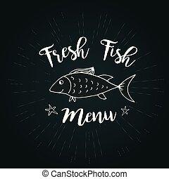 fish, lettering-, frais, tableau noir, menu