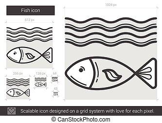 Fish line icon.