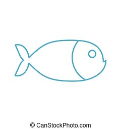 Fish linear symbol. Marine animal sign isolated