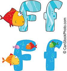fish, litera f