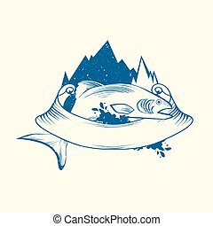 Fish Logo Design With Mountain and Ribbon, Copyspace