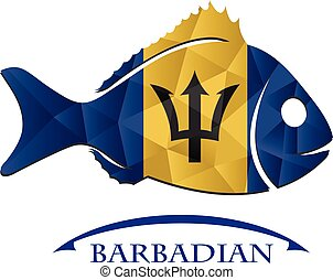 fish logo made from the flag of Barbadian.