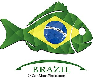 fish logo made from the flag of brazil.