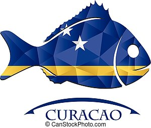 fish logo made from the flag of Curacao