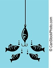 Fish Looking at Fishing Bait with Hooks - Drawing of fishes ...