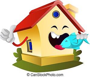 fish, mangiare, illustrazione, casa, fondo., vettore, bianco
