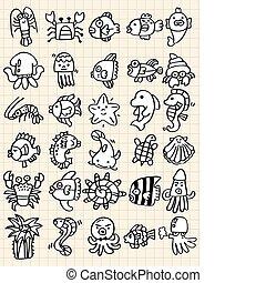 fish, mano, disegnare, elemento