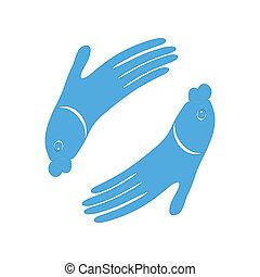 fish, mano, disegno, icona, segno, per, terme