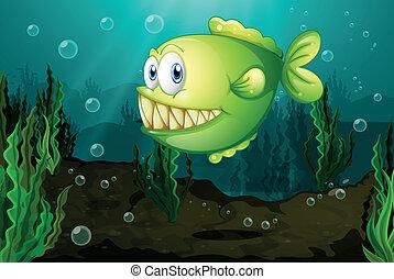 fish, mare, sotto, verde, grande, zanne