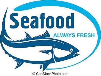 Fish market symbol with wild alaskan salmon